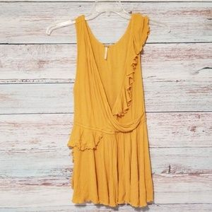 Free people top yellow v neck ruffles Large